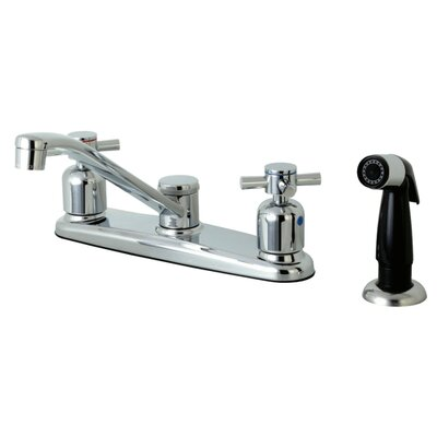 Concord Centerset Double Handle Kitchen Faucet Side Spray: Black Side Sprayer