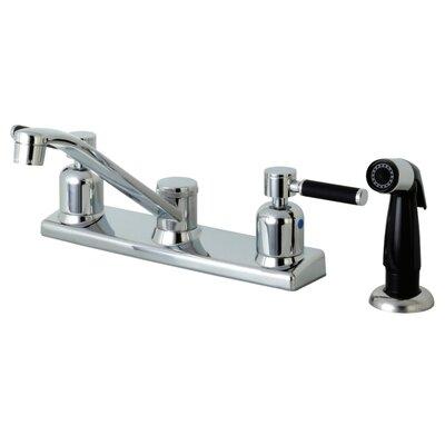Kaiser Centerset Double Handle Kitchen Faucet Side Spray: Black Side Sprayer