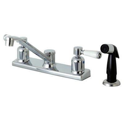 Paris Centerset Double Handle Kitchen Faucet Side Spray: Black Side Sprayer
