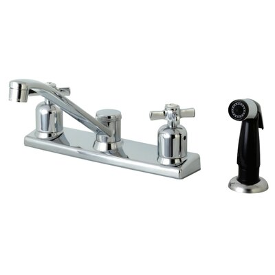 Millennium Centerset Double Handle Kitchen Faucet Side Spray: Black Side Sprayer
