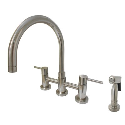 Bridge Centerset Double Handle Kitchen Faucet with Side Spray Finish: Satin Nickel