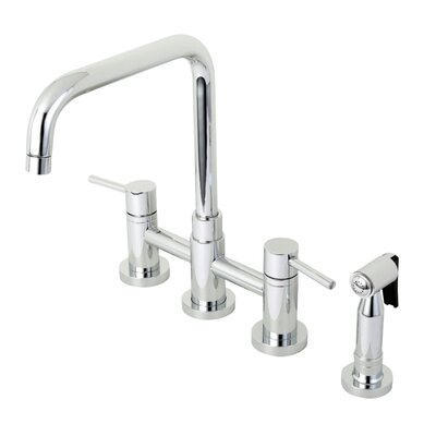 Concord Centerset Double Handle Kitchen Faucet with Side Spray Finish: Polished Chrome