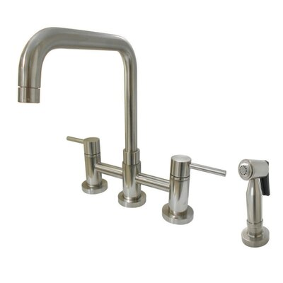 Concord Centerset Double Handle Kitchen Faucet with Side Spray Finish: Satin Nickel