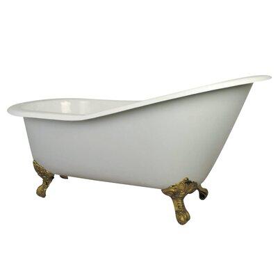 Aqua Eden Cast Iron Slipper 62 x 31 Freestanding Soaking Bathtub Finish: White/Polished Brass Feet