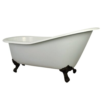 Aqua Eden Cast Iron Slipper 62 x 31 Freestanding Soaking Bathtub Finish: White/Oil Rubbed Bronze Feet