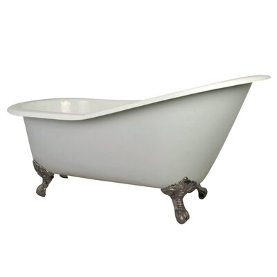 Aqua Eden Cast Iron Slipper 62 x 31 Freestanding Soaking Bathtub Finish: White/Satin Nickel Feet