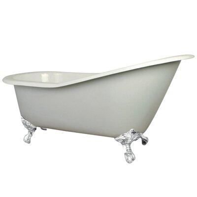 Aqua Eden Cast Iron Slipper 62 x 31 Freestanding Soaking Bathtub Finish: White/White Feet