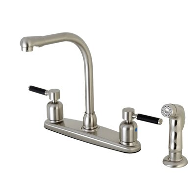 Kaiser Hot & Cold Water Dispenser Double Handle Kitchen Faucet with Side Spray Finish: Satin Nickel