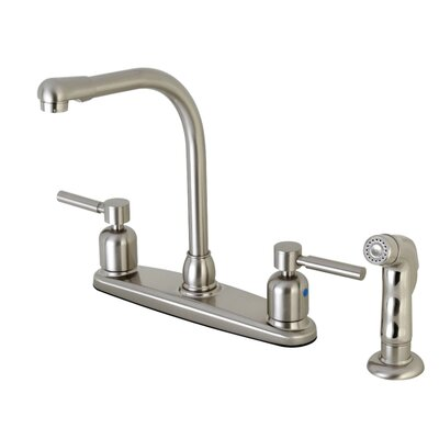 Centurion Hot & Cold Water Dispenser Double Handle Kitchen Faucet with Side Spray Finish: Satin Nickel