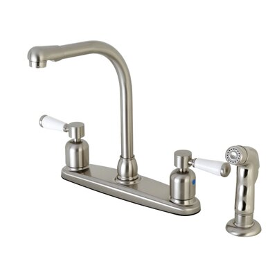Paris Hot & Cold Water Dispenser Double Handle Kitchen Faucet with Side Spray Finish: Satin Nickel