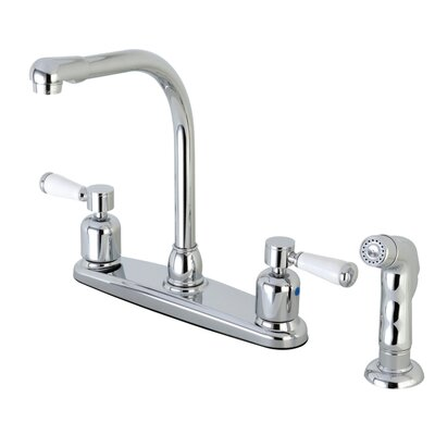 Paris Hot & Cold Water Dispenser Double Handle Kitchen Faucet with Side Spray Finish: Polished Chrome