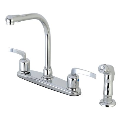 Centurion Double Handle Kitchen Faucet with Side Spray Finish: Polished Chrome