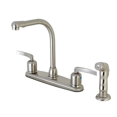 Centurion Double Handle Kitchen Faucet with Side Spray Finish: Satin Nickel