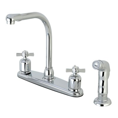 Millennium Hot & Cold Water Dispenser Double Handle Kitchen Faucet with Side Spray Finish: Polished Chrome