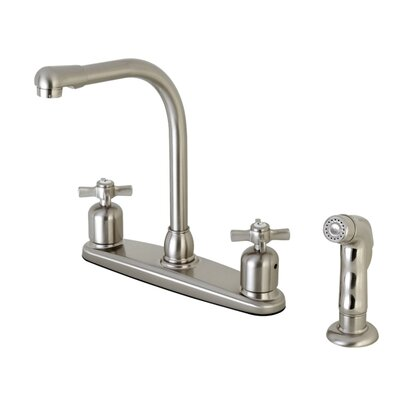 Millennium Hot & Cold Water Dispenser Double Handle Kitchen Faucet with Side Spray Finish: Satin Nickel