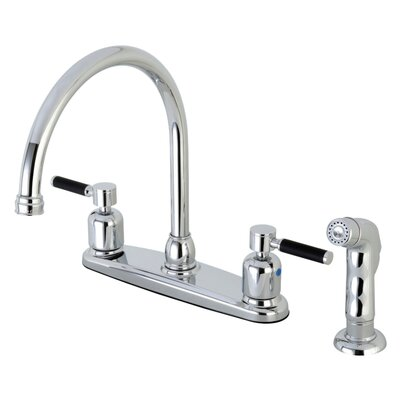 Kaiser Centerset Gooseneck Spout Double Handle Kitchen Faucet Finish: Polished Chrome
