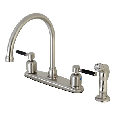 Kaiser Centerset Gooseneck Spout Double Handle Kitchen Faucet Finish: Satin Nickel