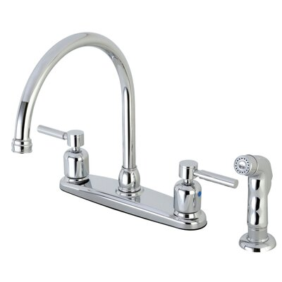 Centurion Centerset Gooseneck Spout Double Handle Kitchen Faucet Finish: Polished Chrome