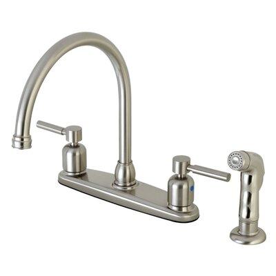 Centurion Centerset Gooseneck Spout Double Handle Kitchen Faucet Finish: Satin Nickel