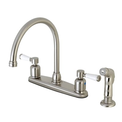 Paris Centerset Gooseneck Spout Double Handle Kitchen Faucet Finish: Satin Nickel