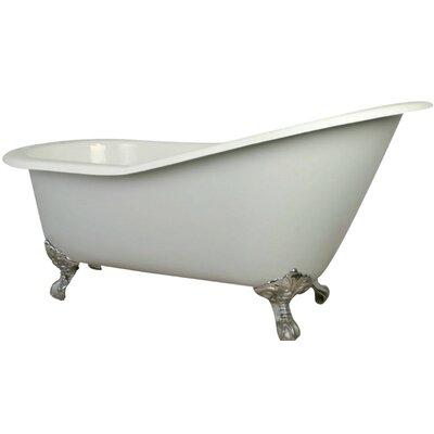 Aqua Eden Cast Iron Slipper 62 x 31 Freestanding Soaking Bathtub Finish: White/Chrome Feet