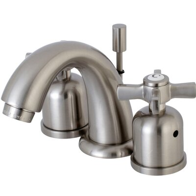 Millennium Mini-Widespread Double Handle Bathroom Faucet with Drain Assembly Finish: Satin Nickel