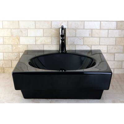 Beverly Ceramic Square Vessel Bathroom Sink Finish: Black