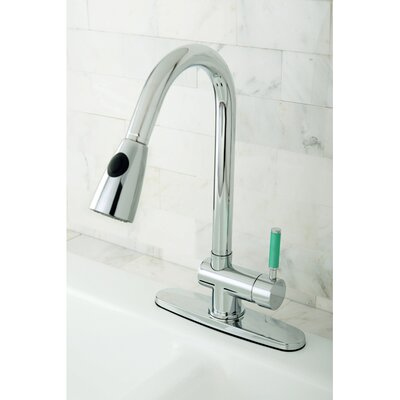 Green Eden Pull Down Single Handle Kitchen Faucet Finish: Polished Chrome