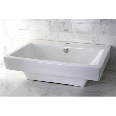 Plaza Ceramic 24 Wall Mount Bathroom Sink with Overflow Sink Finish: White
