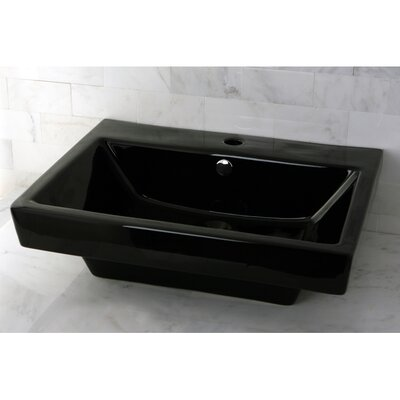 Plaza 24 Wall Mount Bathroom Sink with Overflow Sink Finish: Black