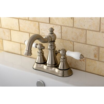 American Patriot Double Handle Centerset Bathroom Faucet with ABS Pop-Up Drain Finish: Satin Nickel