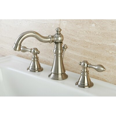 American Classic Double Handle Widespread Bathroom Faucet with ABS Pop-Up Drain Finish: Satin Nickel