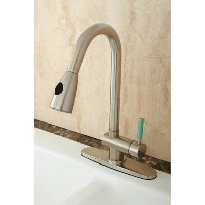 Green Eden Pull Down Single Handle Kitchen Faucet Finish: Satin Nickel