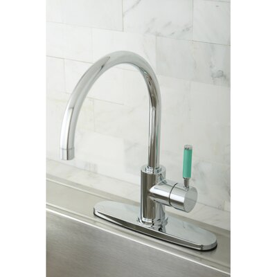 Green Eden Single Lever Handle Kitchen Faucet with Deck Plate Finish: Polished Chrome