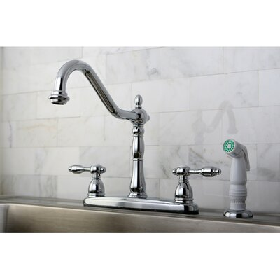 Tudor Double Handle Centerset Kitchen Faucet with Spray Finish: Polished Chrome
