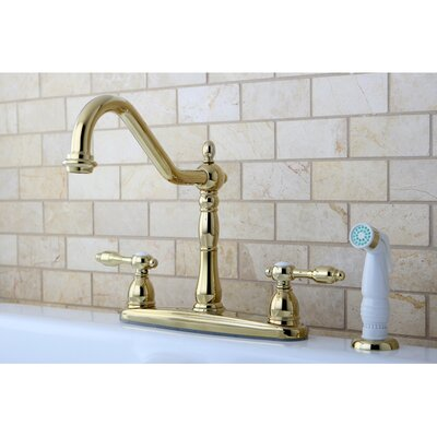 Tudor Double Handle Centerset Kitchen Faucet with Spray Finish: Polished Brass