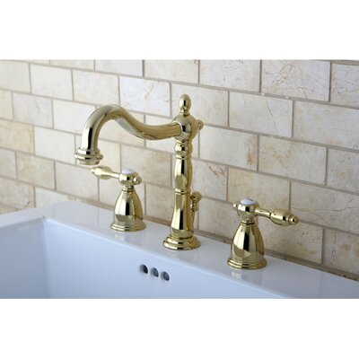 Tudor Double Handle Widespread Bathroom Faucet with ABS Pop-Up Drain Finish: Polished Brass