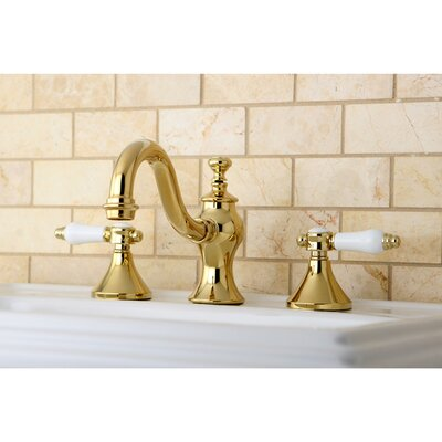 Vintage Double Handle Widespread Bathroom Faucet with Pop-Up Drain Finish: Polished Brass