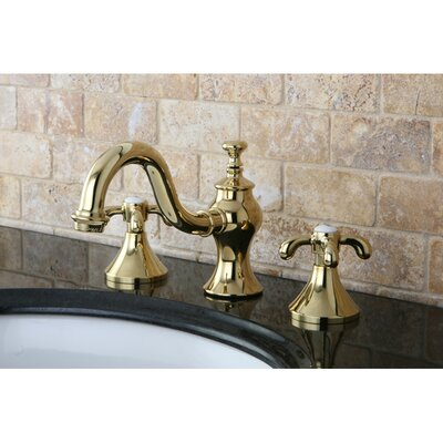 French Country Double Handle Widespread Bathroom Faucet with Pop-Up Drain Finish: Polished Brass