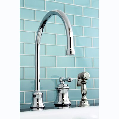 Restoration Single Handle Widespread Kitchen Faucet Finish: Polished Chrome, Side Spray: With Spray