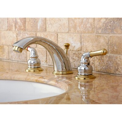 Magellan Double Handle Widespread Bathroom Faucet with ABS Pop-Up Drain Finish: Polished Chrome/Polished Brass
