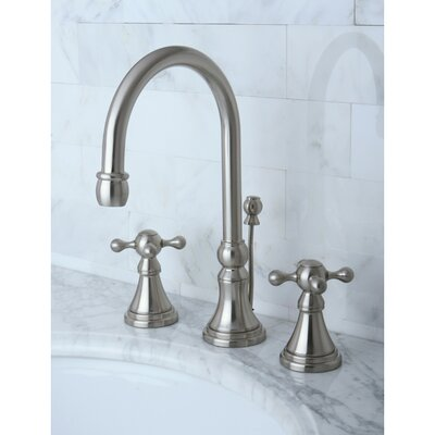 Governor Double Handle Widespread Bathroom Faucet with Brass Pop-Up Drain Finish: Satin Nickel