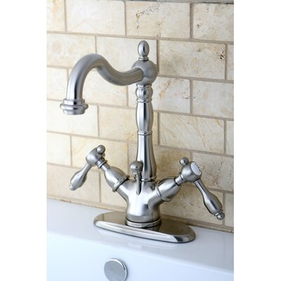 Tudor Double Handle Single Hole Bathroom Faucet with Brass Pop-Up Drain Finish: Satin Nickel
