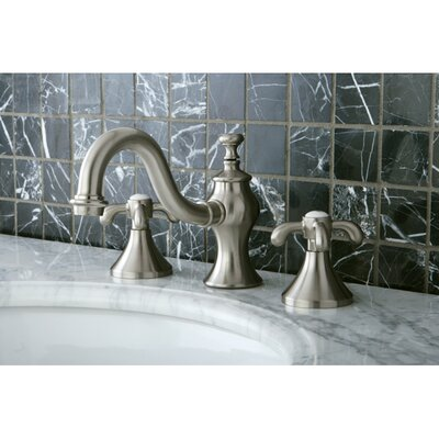 French Country Double Handle Widespread Bathroom Faucet with Pop-Up Drain Finish: Satin Nickel