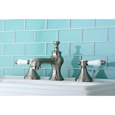 Vintage Double Handle Widespread Bathroom Faucet with Pop-Up Drain Finish: Satin Nickel