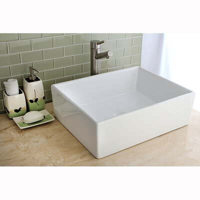 Elements Ceramic Rectangular Vessel Bathroom Sink