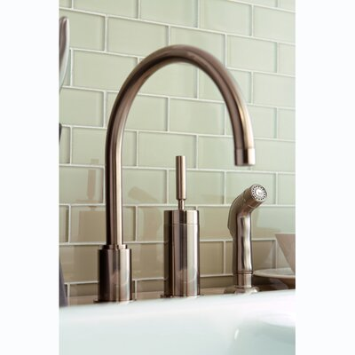 Concord Single Lever Widespread Kitchen Faucet with Sprayer Finish: Satin Nickel, Side Spray: Without Side Spray