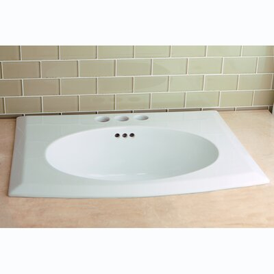 Courtyard Ceramic Rectangular Drop-In Bathroom Sink with Overflow