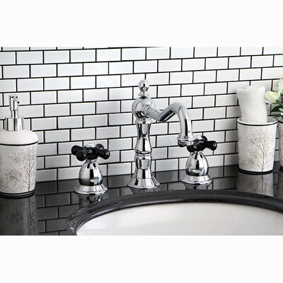 Heritage Onyx Double Handle Widespread Bathroom Faucet with Pop-Up Drain Finish: Chrome