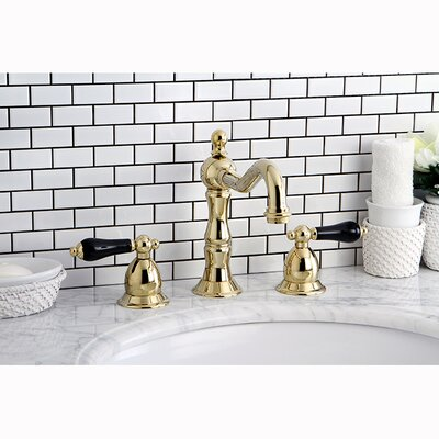 Heritage Onyx Double Handle Widespread Bathroom Faucet with Pop-Up Drain Finish: Polished Brass